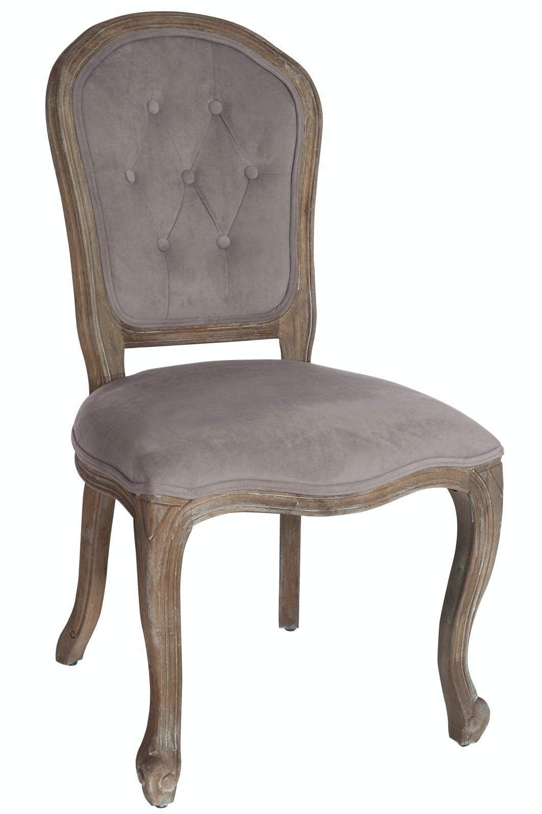 Chaise romantique taupe en chêne, dossier à boutons