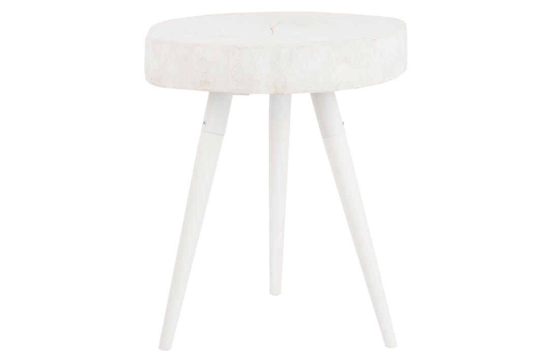 Bout de canapé / table d'appoint ronde en résine blanche, 42x42x60cm