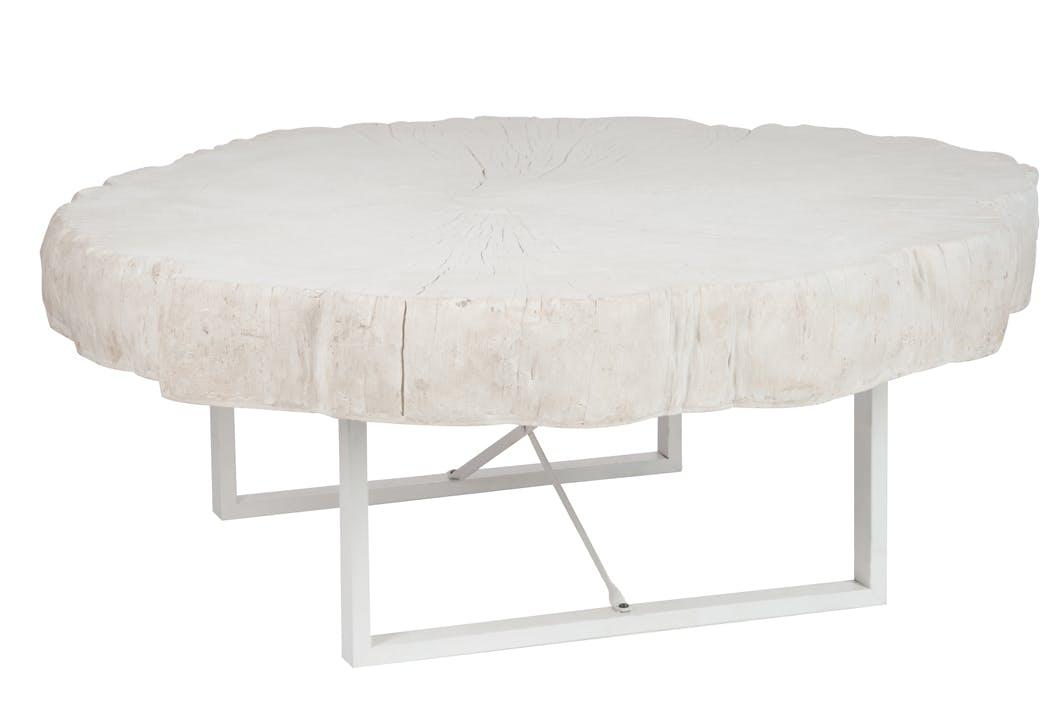 Table basse en résine blanche, 117x107x43cm