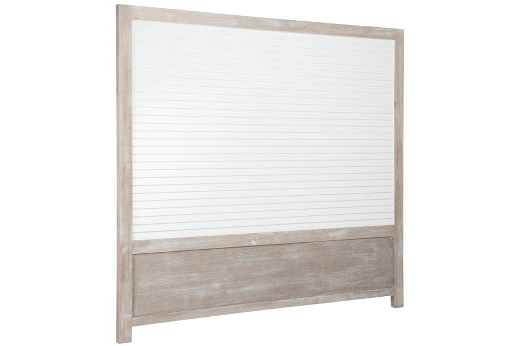 Tête de lit en bois avec lattes blanches, 160x150cm