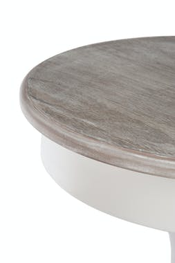 Bout de canapé / table d'appoint ronde en bois blanc, D60xH71cm