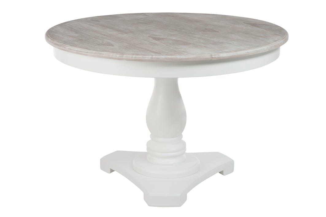 Table ronde, bois blanc et plateau naturel, D120xH81cm
