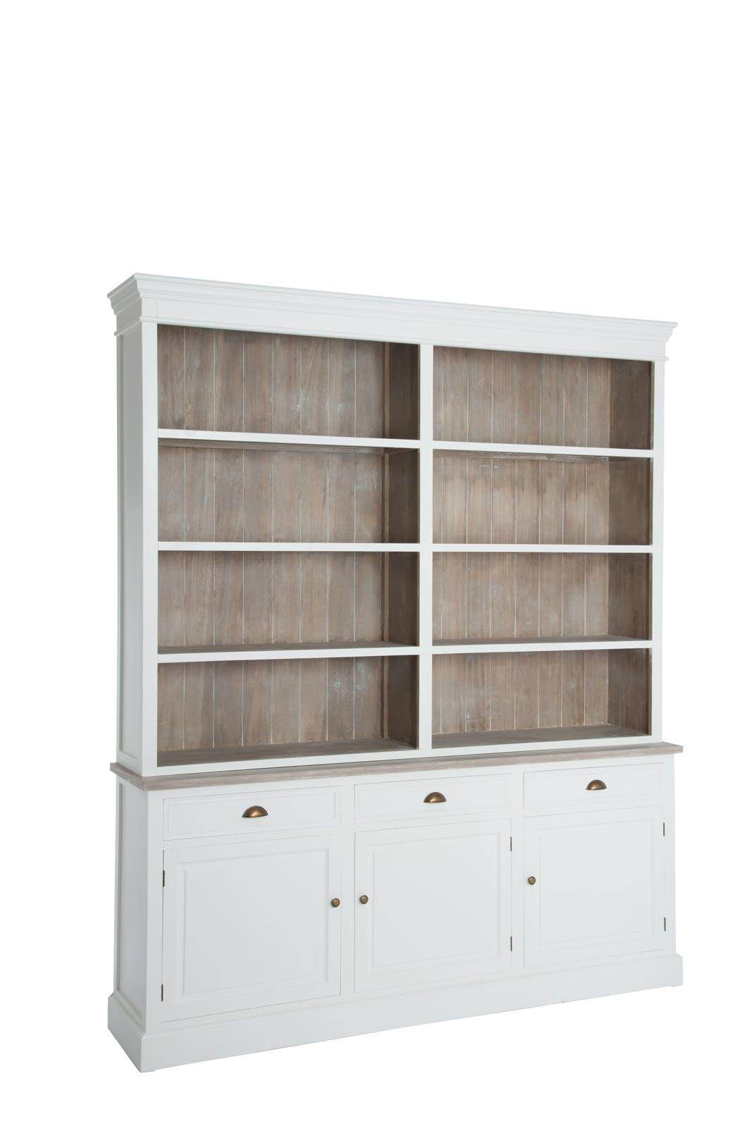 Bibliothèque en bois, 4 niveaux 3 tiroirs et 3 portes, 191x40x227cm