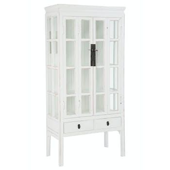 Vaisselier vitrine en bois, 2 tiroirs 3 plateaux 85x45x175cm