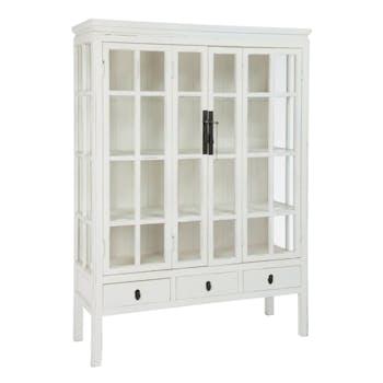 Vaisselier vitrine en bois, 3 tiroirs 3 plateaux 130x45x175cm