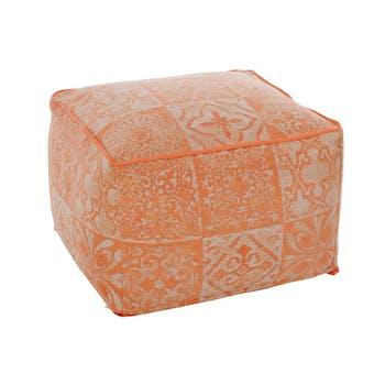 Pouf carré en coton, tissage chenille et coloris corail 60x60x40cm