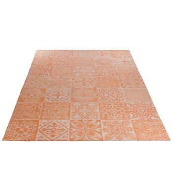 Tapis en coton, tissage chenille et coloris corail, 200x300cm
