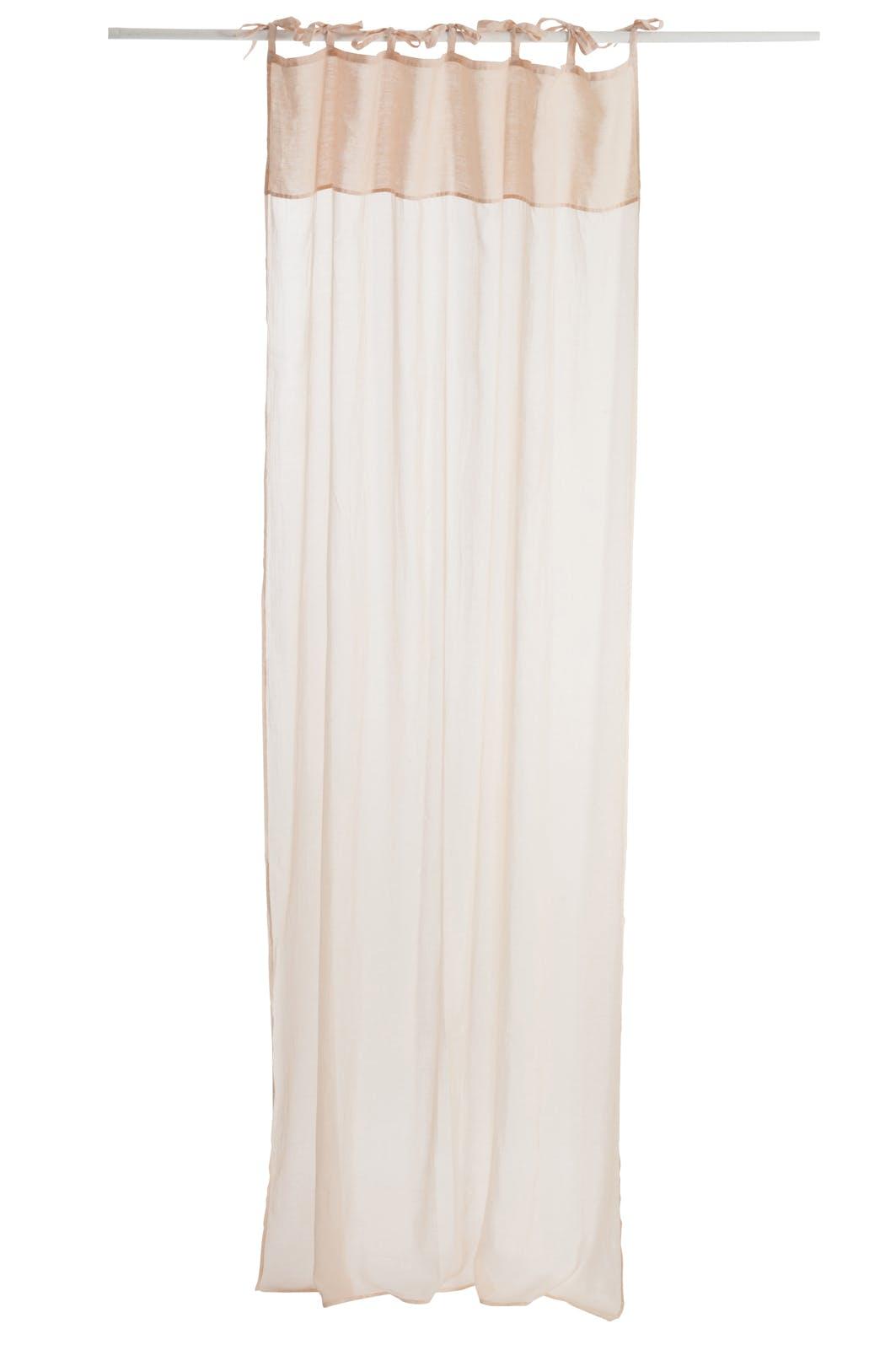 Rideau voile en coton et lin, coloris rose clair, 140x290cm
