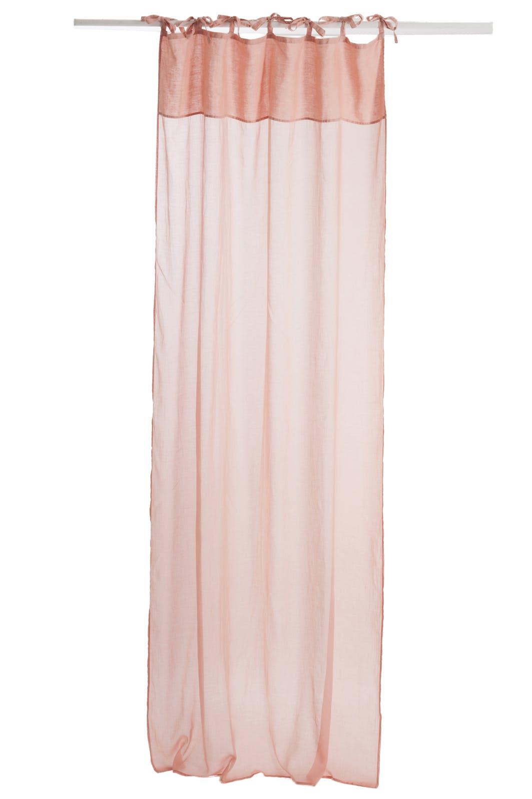 Rideau voile en coton et lin, coloris rose pêche, 140x290cm
