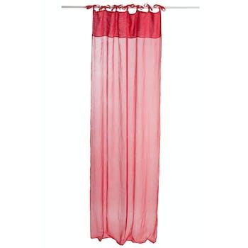 Rideau voile en coton et lin, coloris rouge, 140x290cm