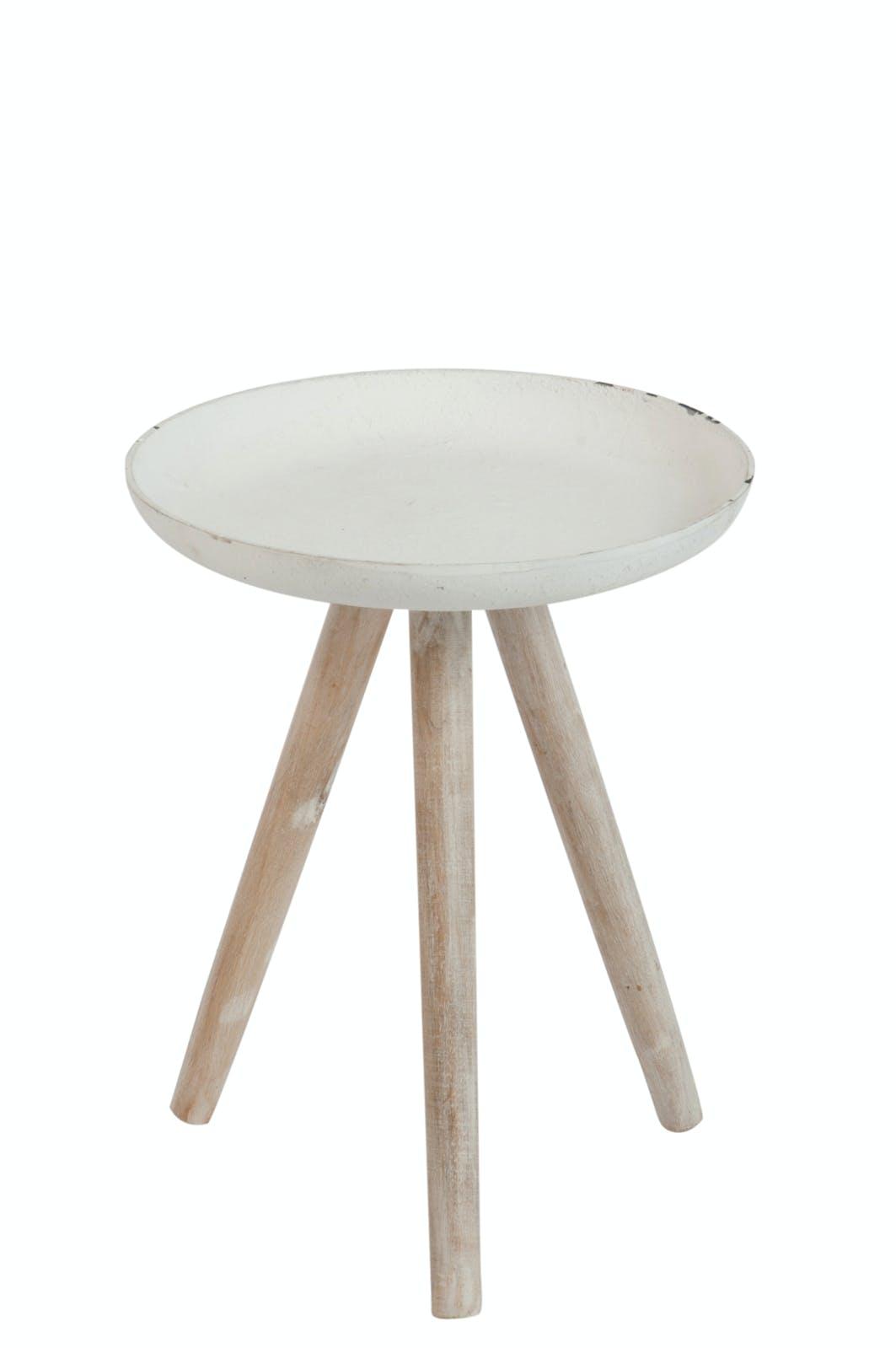 Bout de canapé / table d'appoint plateau métal et pieds bois, D35xH43cm