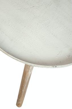 Bout de canapé / table d'appoint plateau métal et pieds bois, D45xH50cm