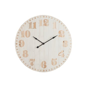 Horloge murale en pin blanc, D114cm