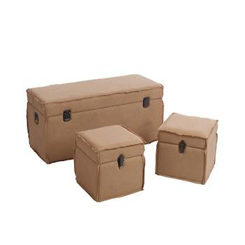 Lot de 3 coffres en bois et coton, coloris marron, 101x41x43cm