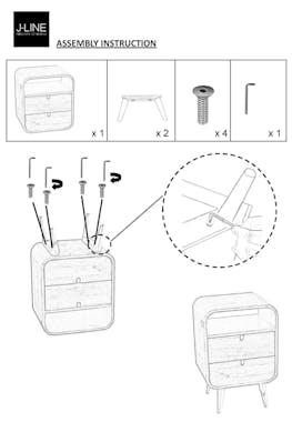 Table de chevet rétro en manguier 2 tiroirs - 40x30x60cm