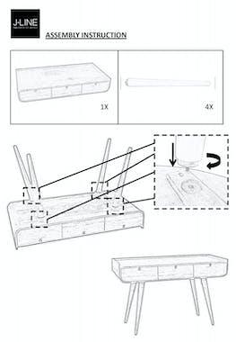 Bureau rétro en manguier 3 tiroirs - 120x60x83cm