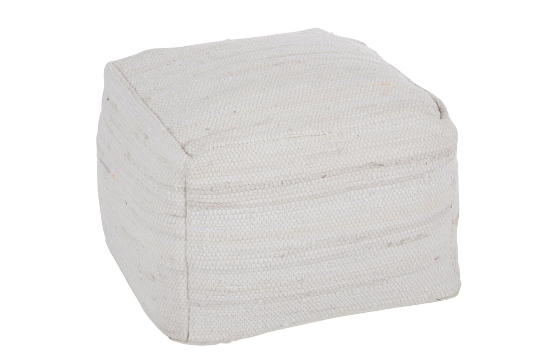 Pouf carré façon chindi blanc - 50x50x35cm