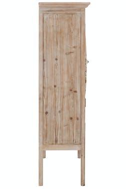 Armoire en pin décorée 2 portes et 1 tiroir - 75x35x128cm