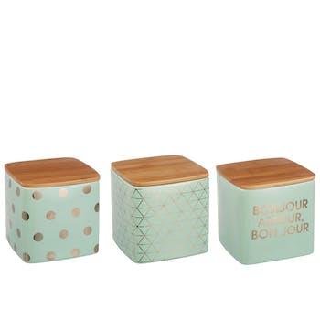 Assortiment de 3 boites en céramique et couvercle bambou - H16cm