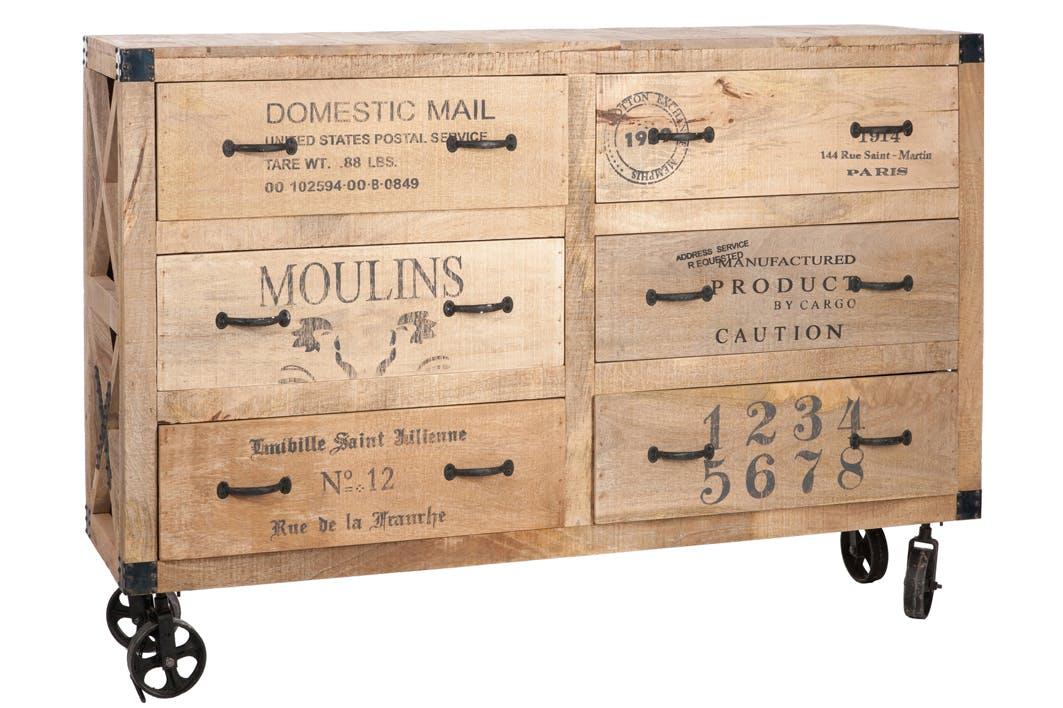 Commode 6 tiroirs en manguier - 150x40x104cm FOREST