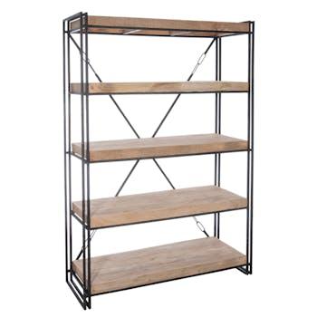 Etagère 4 niveaux bois et métal - 127x46x183cm LANDAISE