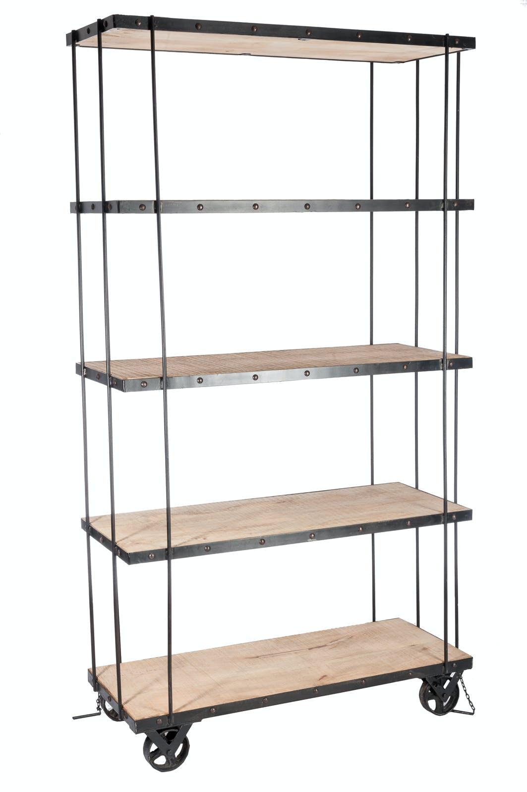 Etagère à roulettes 4 niveaux bois et métal - 102x40x190cm LANDAISE
