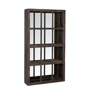 Etagère miroir en pin brun - 75x20x136cm
