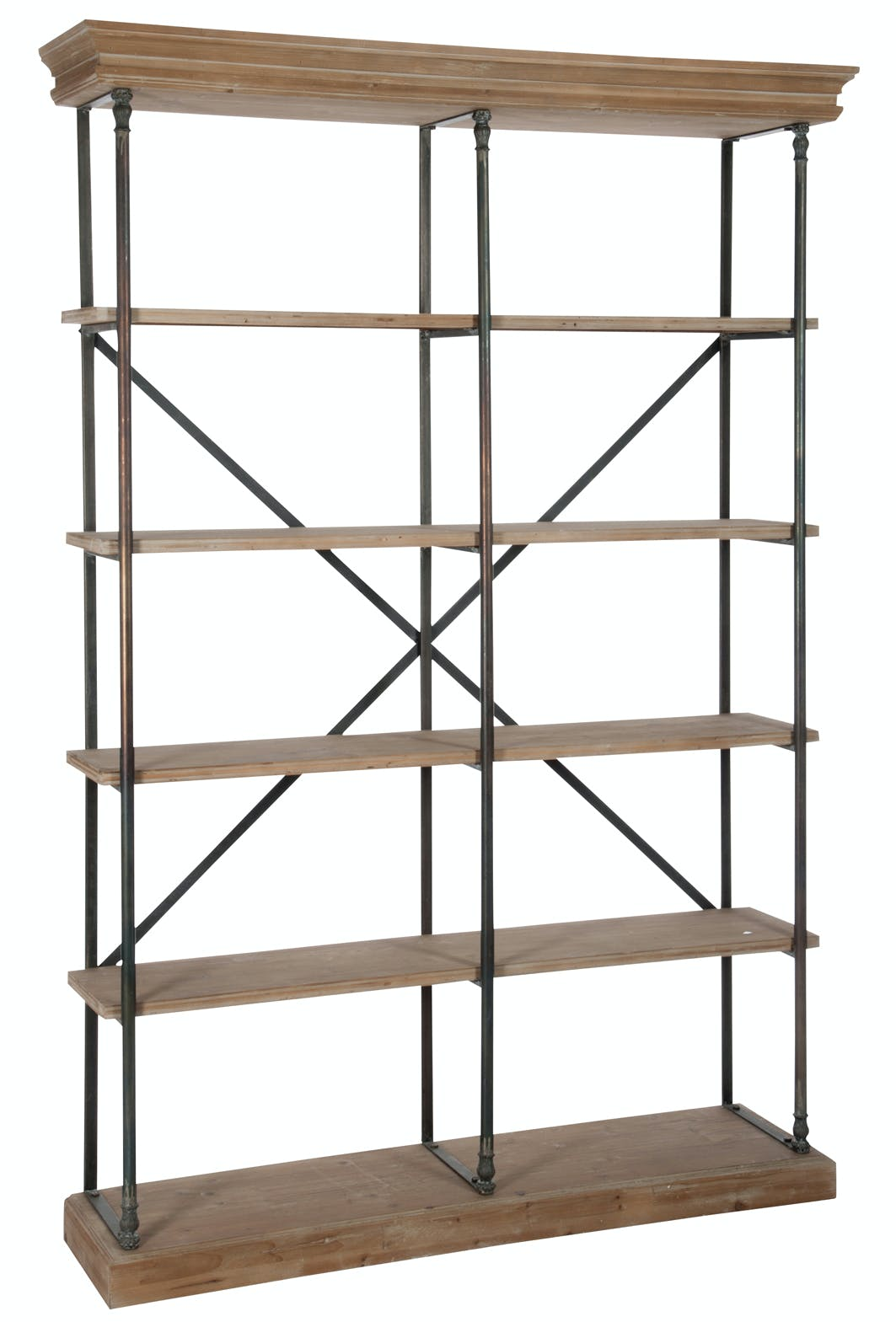 Etagère haute 5 niveaux bois et métal noir - 148x39x214cm
