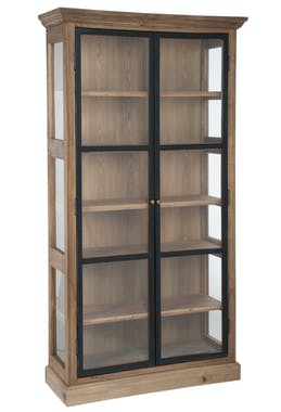 Bibliothèque vitrée 6 niveaux bois naturel - 110x38x195cm