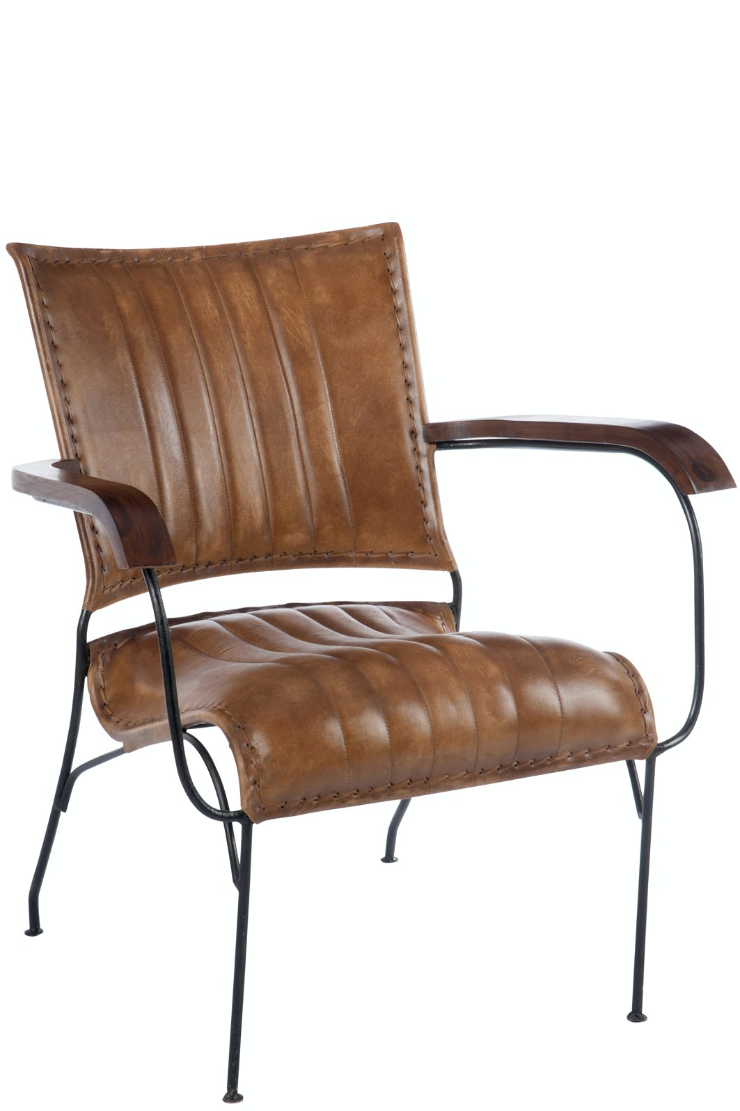 Fauteuil rétro en cuir cognac et métal - 62x65x74cm