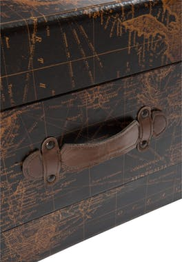 Table basse coffre motif carte du monde - 122x72x42cm