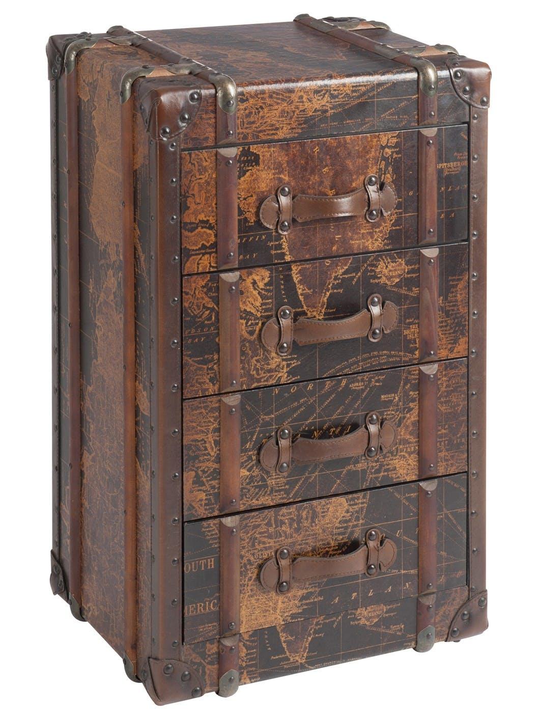 Chiffonnier 4 tiroirs bois marron, motif carte du monde - 52x52x85cm
