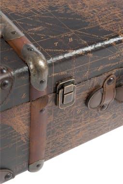 Lot de 3 coffres en bois marron, motif carte du monde - 62x40x25cm