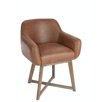 Fauteuil en cuir marron, pieds croisés en chêne - 62x56x77cm