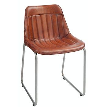 Chaise loft en cuir cognac, pieds métal - 46x52x77cm
