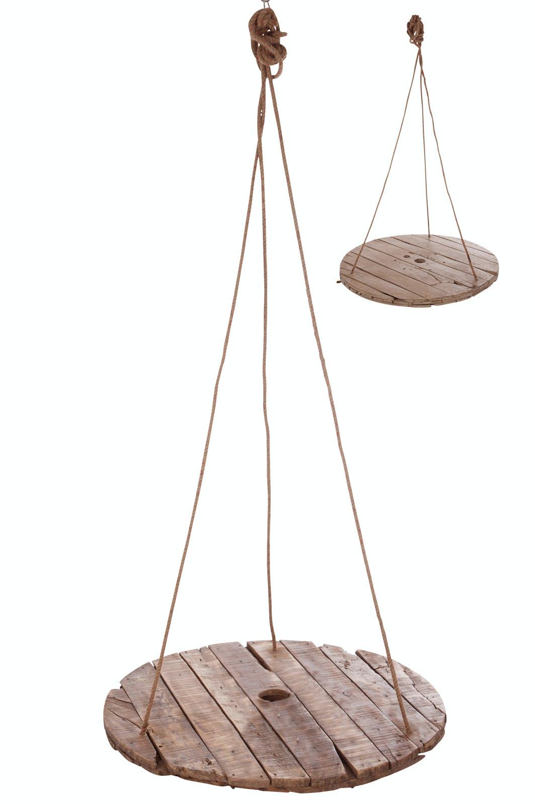 Table suspendue ronde, planches de bois naturel - D100cm