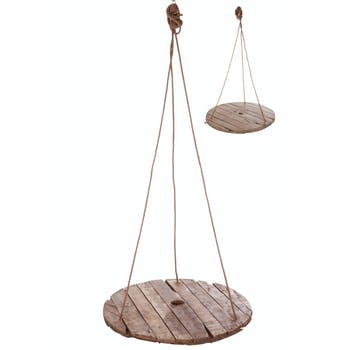 Table suspendue ronde, planches de bois naturel - D100cm