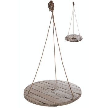 Table suspendue ronde, planches de bois gris - D100cm