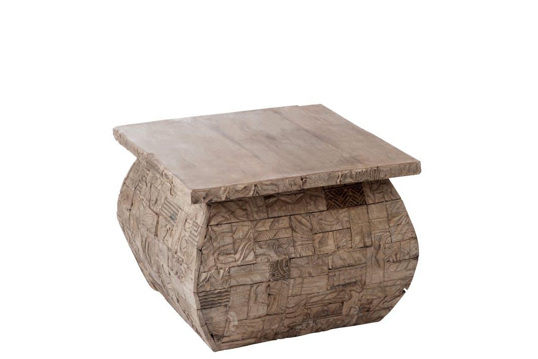 Table d'appoint exotique en bois gris - 60x60x45cm