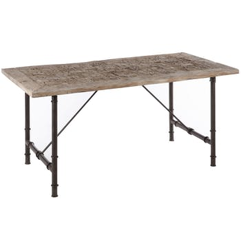 Table de repas exotique, bois gris à motifs et métal 180x90x75cm