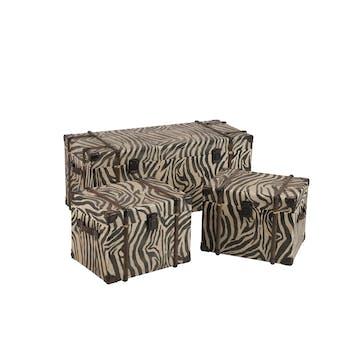 Lot de 3 coffres en bois aspect zèbre 101x43x43cm