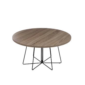 Table basse ronde, plateau bois naturel et pieds métal - D80 H40cm