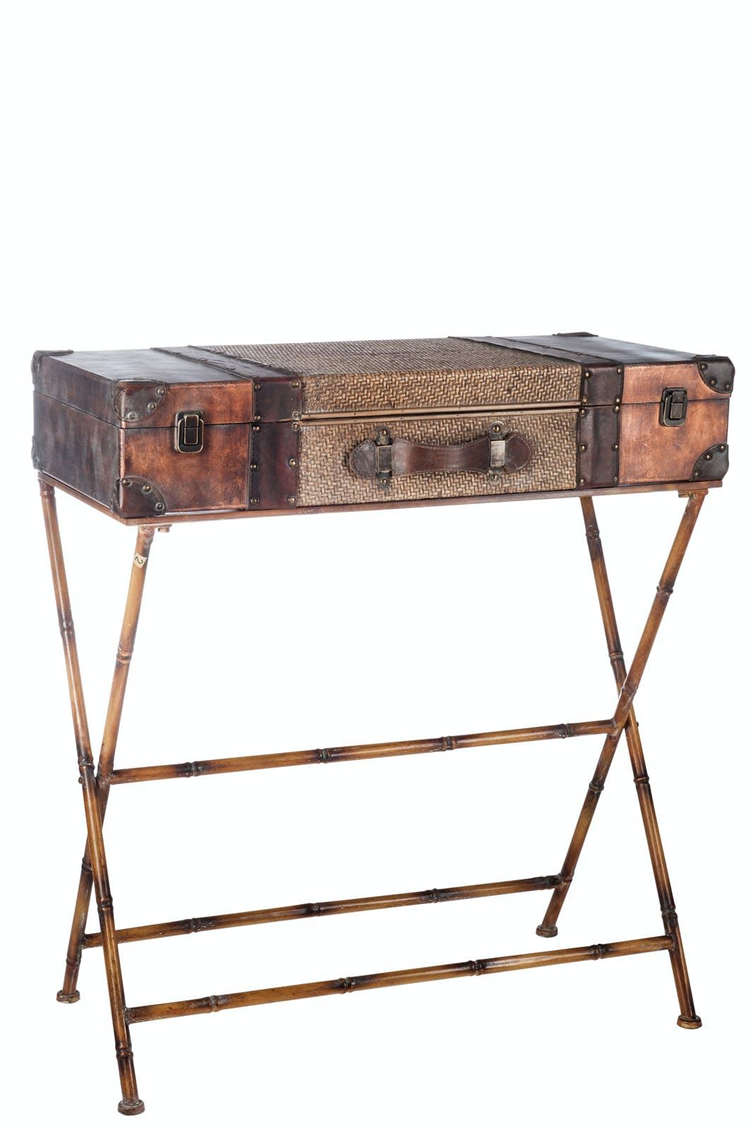 """Console """"valise"""" en rotin et métal - 80x40x88cm"""