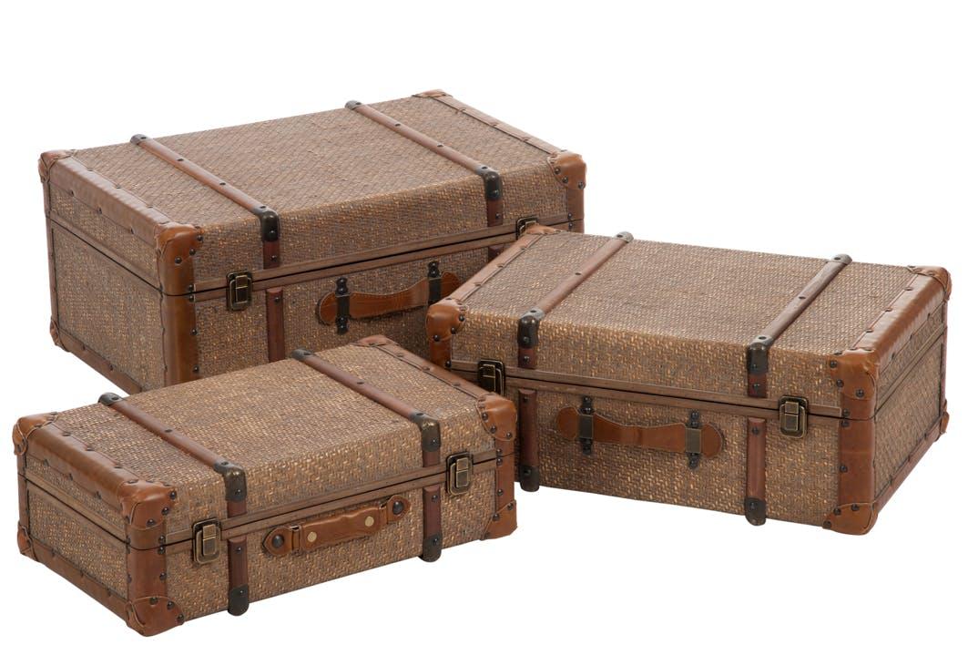 Lot de 3 coffres en rotin, aspect antique - 60x41x28cm