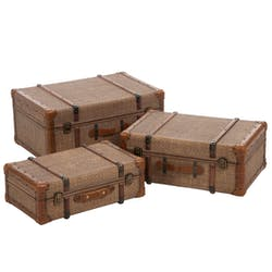 Lot de 3 coffres en rotin, aspect antique - 60x41x28cm