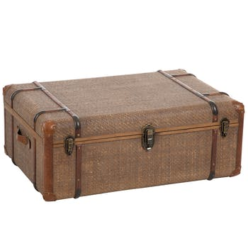 Malle / coffre en bois et rotin - 91x61x37m