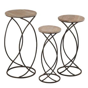 Lot de 3 tables gigogne métal et plateau bois
