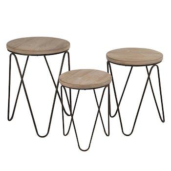 Lot de 3 tables gigogne style scandinave métal et bois