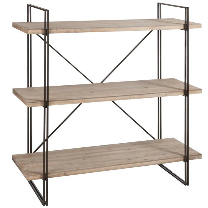 Etagère métal, 3 niveaux en bois clair, 120x120cm