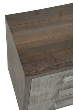 Table de chevet 3 tiroirs, bois gris et naturel - 50x35x55cm FOREST